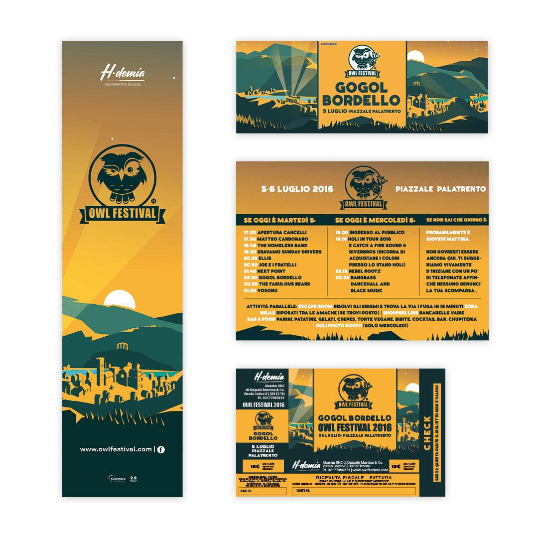 Nadia Groff - Owl Festival - Music Summer Festival - Trento - Graphic design