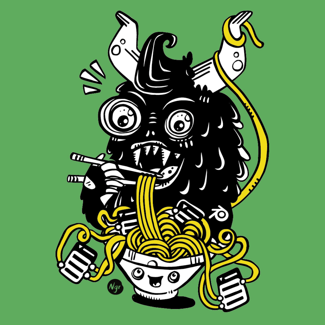 Nadia Groff - T-shirt Blender - Green Monster Noodle Illustration