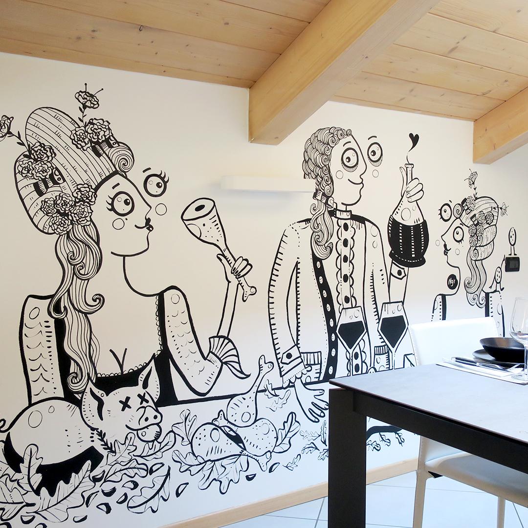 Nadia Groff - Murales - Cucina - food - illustrazione - ngr