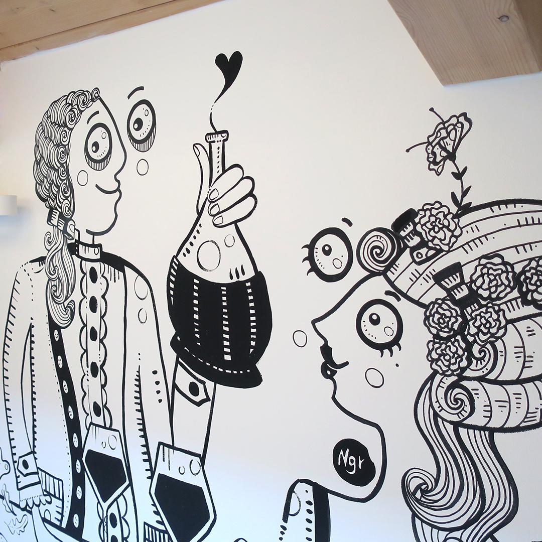 Nadia Groff - Murales - Cucina - wine - illustrazione - ngr