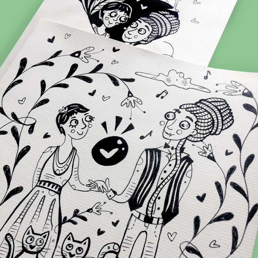 Nadia Groff - Wedding Invitation - Illustration