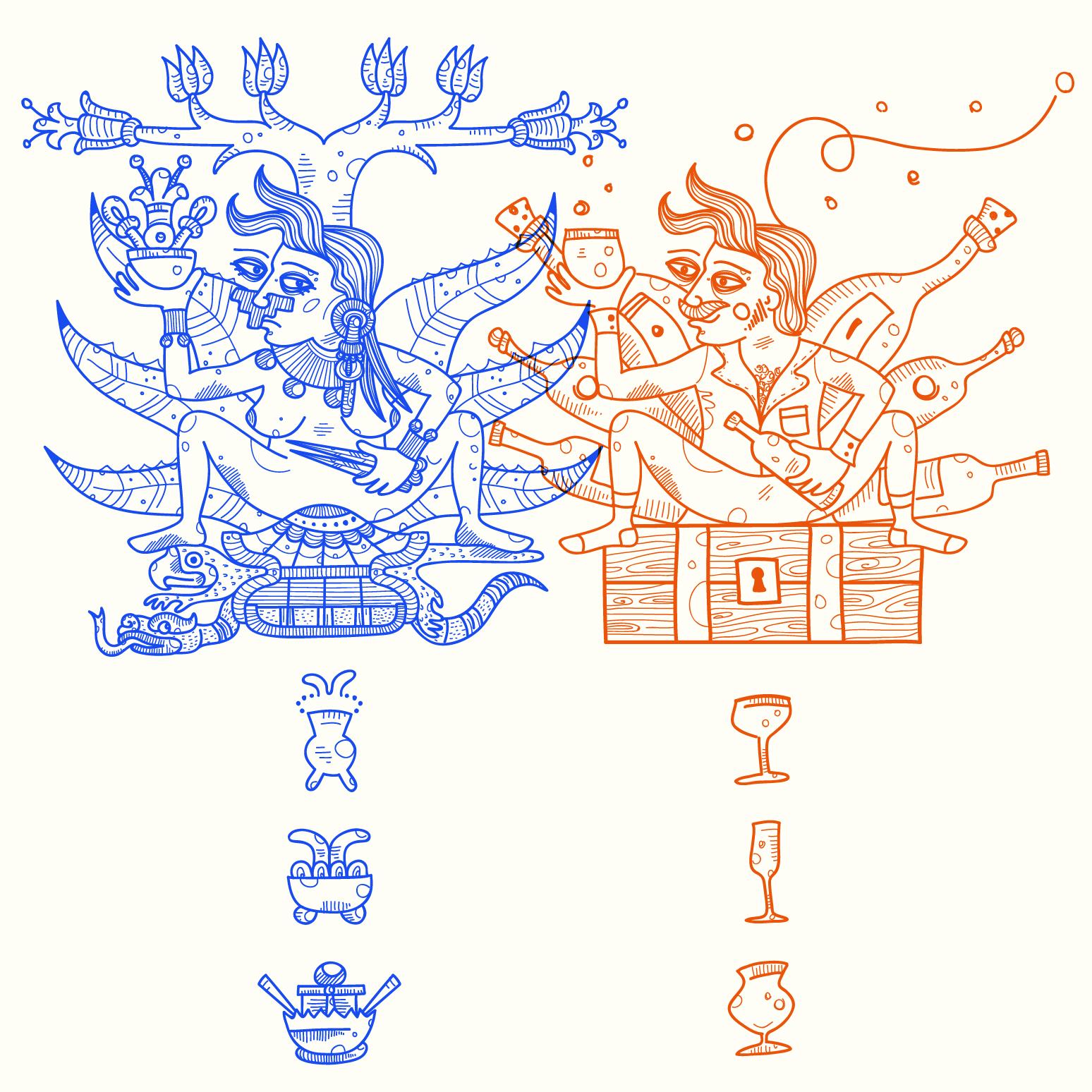 Nadia Groff Illustration Set Design HistoryLab - Sbornie Sacre Sbornie Profane